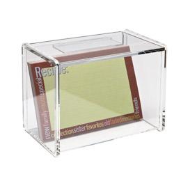 acrylic recipe box with recipe card window ~ container store, $14.99.