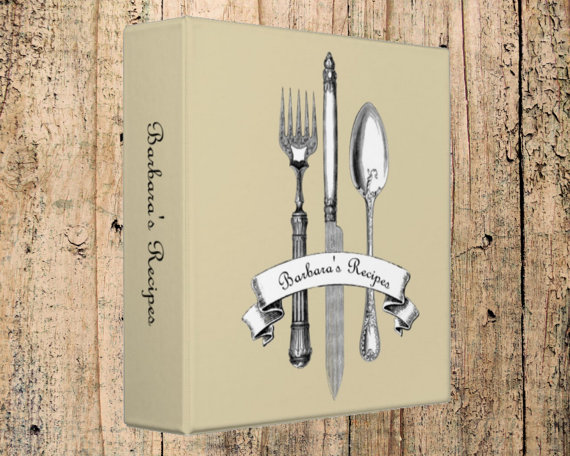 personalized 3-ring recipe binder ~ DesignerBinder's Etsy shop, $34.00.