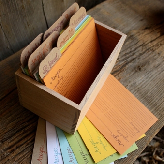 stylish letterpress cards and recipe box ~ seejanework, $52.00.