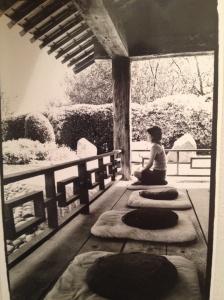 meditating at osmosis spa, freestone, california.